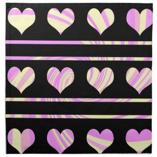 Colorful harts pattern printed napkins