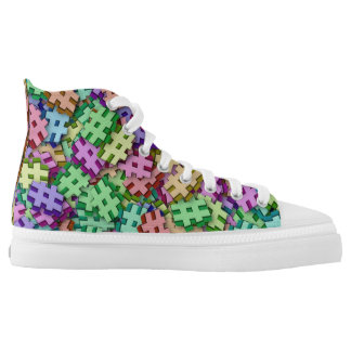 Colorful Hashtag Design High Top Sneakers