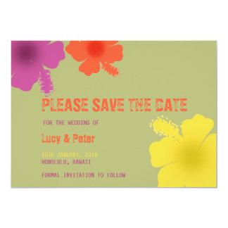 Colorful Hawaiian Hibiscus Wedding Save the Date 13 Cm X 18 Cm Invitation Card