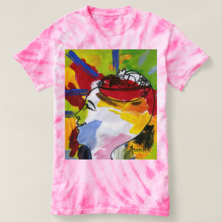 Colorful head with bowl of fruits tie-dye t-shirt