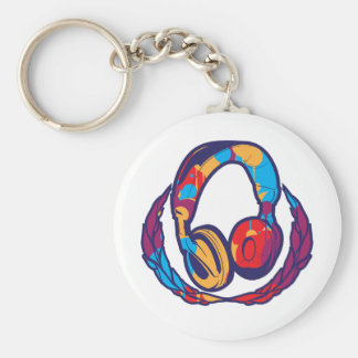 Colorful Headphones Basic Round Button Key Ring