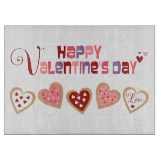 Colorful Heart Cookies Valentine's Day Cutting Board
