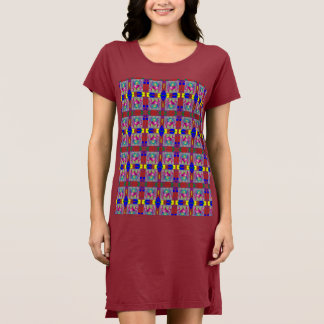 Colorful Heart in Square  T Shirt Dress