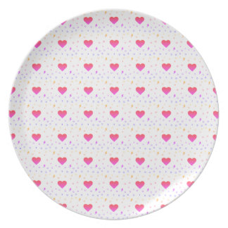 Colorful Heart Kawaii Pattern Plate