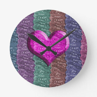 Colorful Heart Metal Mesh Round Wallclock