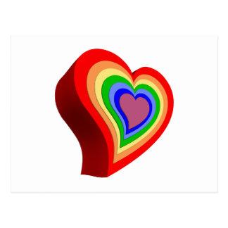Colorful heart postcard