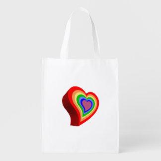 Colorful heart reusable grocery bag