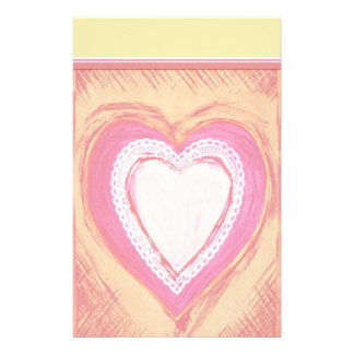 Colorful Heart Sketch Stationery with Letterhead
