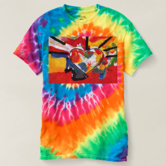 Colorful Heart Women's Spiral Tie-Dye T-Shirt