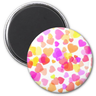 Colorful Hearts 6 Cm Round Magnet