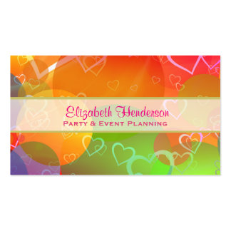 Colorful Hearts and Balloons Pattern Pack Of Standard Business Cards