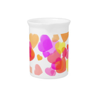 Colorful Hearts Beverage Pitcher