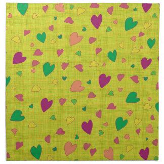 Colorful hearts cloth napkins