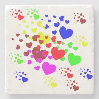 Colorful Hearts Coaster Stone Coaster