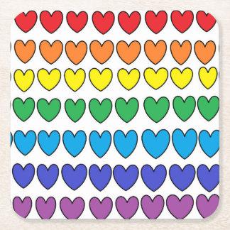 Colorful Hearts Coasters Square Paper Coaster