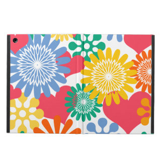 Colorful Hearts Floral Design iPad Air Cases