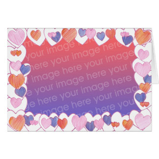 Colorful Hearts Frame Add Photo DIY Cards