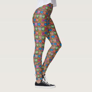 Colorful Hearts in Geometric Pattern Leggings