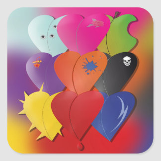 Colorful Hearts in Various Designs and Feel Square Sticker