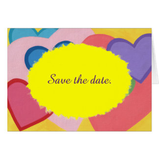 Colorful Hearts Layered Save the date Cards