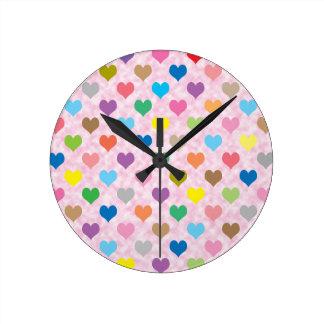 Colorful hearts pattern wallclocks