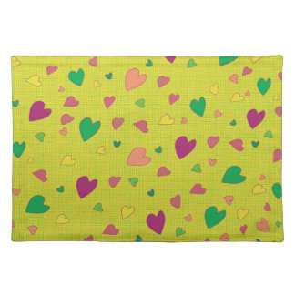Colorful hearts placemat