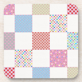 Colorful hearts quilt pattern coaster