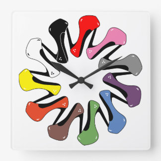 Colorful Heels Square Wall Clock