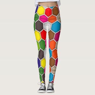 Colorful Hexagon Paint Palette Leggings