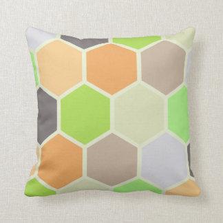 Colorful Hexagons Pillow (Orange, Green, & Purple)