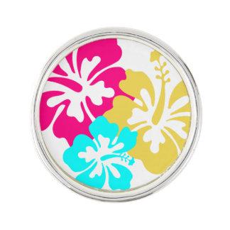 Colorful Hibiscus Design Lapel Pin