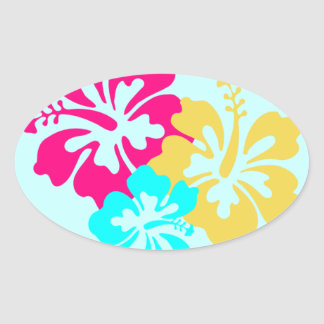 Colorful Hibiscus Design Oval Sticker