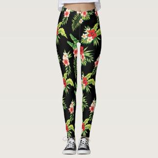 Colorful Hibiscus Flowers Seamless Pattern Leggings