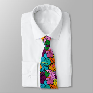 Colorful Hibiscus Flowers Tie