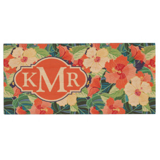 Colorful Hibiscus Pattern | Monogram Wood USB 2.0 Flash Drive