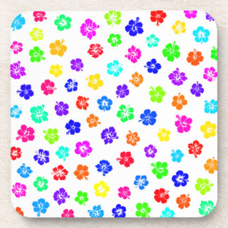 Colorful Hibiscus Print Drink Coasters