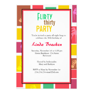 Colorful High Heels Block Flirty Thirty Invitation Invitation