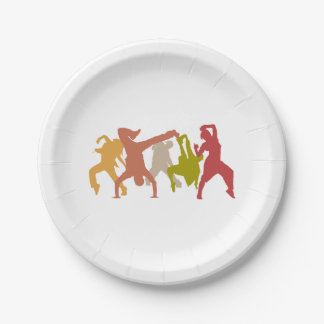 Colorful Hip Hop Dancers Paper Plate