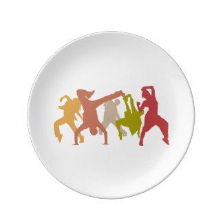 Colorful Hip Hop Dancers Porcelain Plates