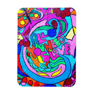 colorful hippie peace and love magnet