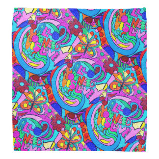 colorful hippie psychedelic love bandana