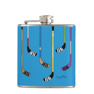 Colorful Hockey Sticks Hip Flask