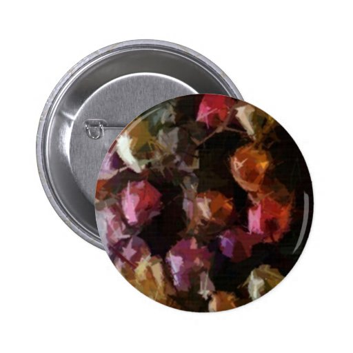 Colorful Holiday Christmas Ornaments Wreath Pinback Button