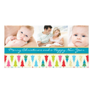 COLORFUL HOLIDAY PHOTOCARD :: patternedxmastree 1L Photo Card Template