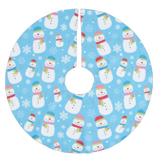 Colorful Holiday Snowman Snowflakes Pattern Brushed Polyester Tree Skirt