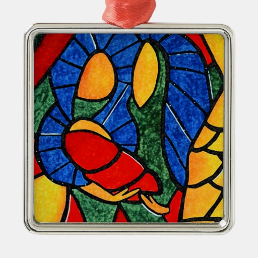 Colorful Holy Family Abstract Christmas Ornament