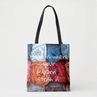 Colorful/ Home is where your yarn stash is Tote Bag