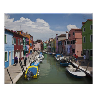 Colorful homes along canal on the island of poster
