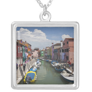 Colorful homes along canal on the island of square pendant necklace