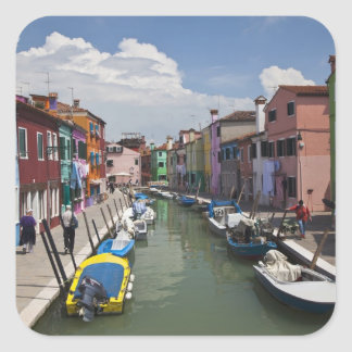 Colorful homes along canal on the island of square sticker